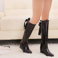 雨靴韩版雨鞋坡跟雨鞋女士高筒飘带雨靴加保暖套胶鞋水鞋