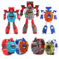 合金变形儿童玩具手表卡通奥特曼金刚变身男女孩机器人模型8宝宝3-6岁电子表 变形手表【红黑合金版】