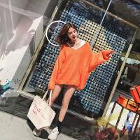 的慵懒毛衣女宽松套头韩版秋冬橙色领针织上衣加厚两件套 桔红色