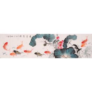 王东风《连年有余》花鸟 大尺幅 国画 精品 装饰 送人字画的佳品