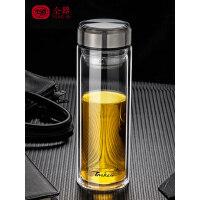 双层玻璃杯男士水杯隔热保温便携杯子大容量1000ml家用泡茶杯过滤