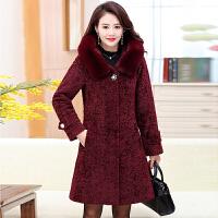 妈妈羊剪绒大衣女40-50岁中长款中老年冬季加厚毛呢外套中年冬装