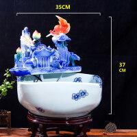 景德镇陶瓷鱼缸金鱼缸乌龟缸睡莲缸陶瓷鱼盆金鱼盆创意水族箱 青花方形流水鱼缸送雾化器