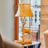 精美护眼时尚欧式卧室床头灯创意美式复古麋鹿台灯个性书房家居送乔迁新居礼品精美时尚氛围灯 按钮开关