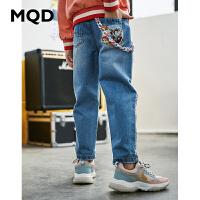 MQD童装女童牛仔裤2020春季新款休闲撞色绣花长裤儿童破洞牛仔裤