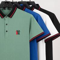 虎都男装英伦短袖POLO衫男士夏季针织领明星同款刺绣NY短袖T恤上衣HDA826