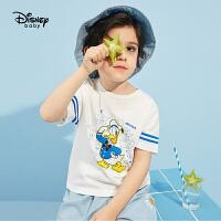 【3折券后价:33.3元】迪士尼童装男童短袖体恤2021夏季新款洋气儿童宝宝针织简约时尚上衣潮