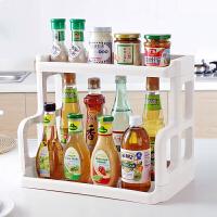 厨房多功能置物架调味料用品收纳架两层塑料调料架落地整理储物架
