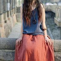 夏季宽松长款竹节棉麻纯色大码亚麻棉麻半身长裙 含配套项链