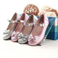 【品牌秒杀】鞋柜童鞋 时尚水钻蝴蝶结女童鞋亮片公主鞋-tt