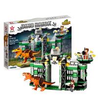 恐龙玩具男孩拼装霸王龙大逃脱儿童侏罗纪暴龙积木