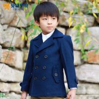 英格里奥童装男童韩版精工双排扣大衣1511