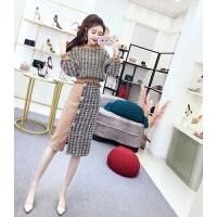 网红两件套装冬装韩版俏皮女神长袖撞色呢子上衣+高腰包臀半身裙