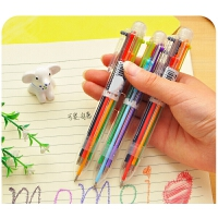 可爱多色圆珠笔 透明杆多功能按动彩色油笔6色笔芯批�l