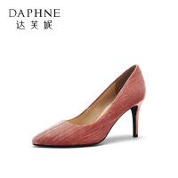 达芙妮女鞋春秋新款尖头细跟金丝绒高跟鞋1018404961