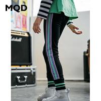 MQD童装女童打底裤2020春季新款儿童运动撞色拼接字母胶印条纹裤