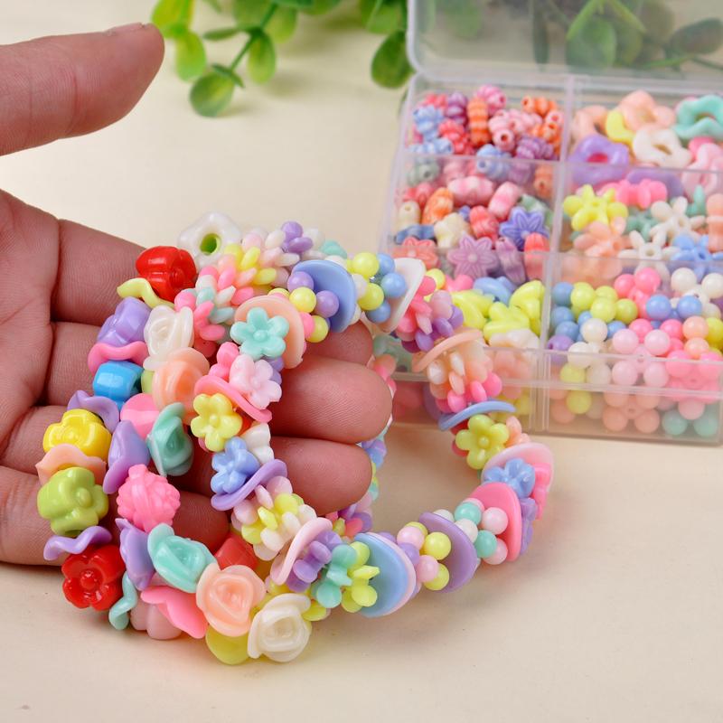 女孩穿珠子项链手链饰品玩具儿童串珠手工制作diy材料包