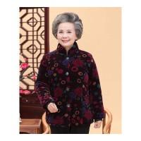 加绒奶奶装棉衣外套中老年女装冬装60-70-80岁保暖妈妈装棉袄