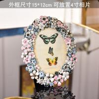 欧式珐琅彩合创意相框摆台 6寸7寸8寸个性生日结婚礼物摆件 花丛 4寸 其他尺寸