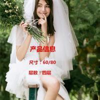 新款婚纱头纱短款女新娘韩式简约头纱头饰超仙网红拍照森系头纱女 60cm-80cm