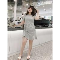 洋气大码女装显瘦性感潮洋气韩版夏季侧面绑带遮肚子荷叶摆连衣裙