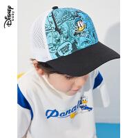 【99元3件:33元】迪士尼童装男童鸭舌帽2021新款洋气儿童宝宝帅气梭织卡通网眼帽子