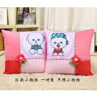 3D抱枕十字绣一对卡通浪漫情侣客厅卧室办公室沙发枕头汽车靠垫 KT猫一对 (含枕芯)