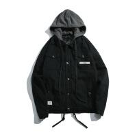 加厚工装外套女夹棉冬季短款棉衣新款韩版宽松bf港风 黑色 S