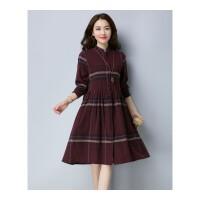 秋冬大码长袖棉麻中长款新款韩版宽松遮肚子显瘦裙子女