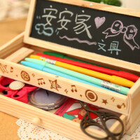 开学文具 韩国可爱文具创意文具 多功能文具盒 大容量简约铅笔盒 韩版创意木制笔袋 黑板木制铅笔盒 开学礼物