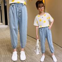 女童牛仔裤夏薄款儿童夏季冰丝大童天丝裤子小夏装