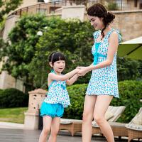 夏季女士亲子 大人游泳衣聚拢裙式 连体平角分体 时尚温泉度假