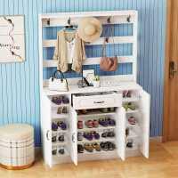 多功能简约现代欧式鞋柜衣架一体家用门口进门储物鞋柜挂衣架鞋架