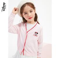迪士尼女童毛衣2021春装新款洋气儿童宝宝时尚洋气前开针织衫