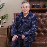 夹棉睡衣男士老年人保暖三层加厚棉袄冬套装棉衣加绒法兰绒家居服