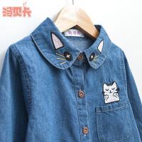 2019春装新款中大童长袖衬衣韩版儿童女孩上衣外套女童牛仔衬衫