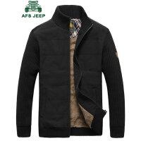 战地吉普男士加绒夹克 秋冬针织袖时尚拼接立领加毛茄克衫 韩版潮男短款夹克外套