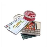 素描套装马利24色水彩套装7件套颜料/画笔/调色盒/水桶/水彩纸/勾线笔