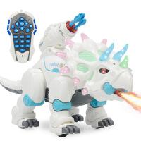 仿真恐龙玩具模型 遥控电动三角龙 新款智能雾化喷火恐龙儿童玩具