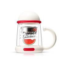 【热卖新品】熊玻璃杯女双层可爱网红花茶杯子茶水分离办公室水杯带把家用