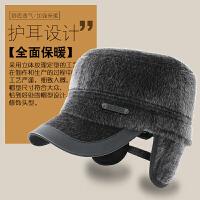 中老年人帽子秋冬季爸爸爷爷平顶帽仿水貂毛鸭舌帽护耳保暖军帽