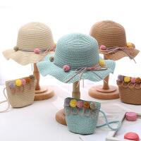 女童草帽夏季薄款女宝宝太阳帽渔夫帽儿童遮阳帽公主沙滩帽子
