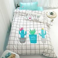 纯棉三件套男孩学生宿舍1.2m床品单人儿童可爱床单上下铺被套1.0m 白色 仙人掌