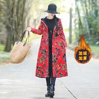 冬装新款民族风女装棉麻加绒加厚中长款复古印花长袖连帽风衣外套