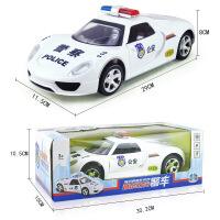 电动万向音乐警车玩具110儿童玩具车警察汽车模型炫酷灯光2-3-4-5岁生日礼物 白色大号万向警车 收藏优先发货 配充
