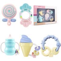 婴儿玩具手摇铃0-1岁新生儿宝宝咬软胶可水煮牙胶3-6-12个月 盒装5件套手摇铃(可高温水煮)