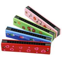 【随机1只装或订单留言备注】口琴儿童木制彩绘双排十六孔口风琴乐器启蒙早教创意玩具