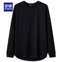 【�缓蠹郏�69 罗蒙品牌日】罗蒙男士长袖Polo衫2021春季新款商务休闲上衣中青年纯棉圆领T恤