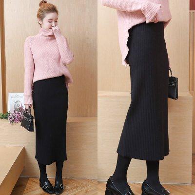 秋冬大码高腰包臀针织半身裙毛线裙子中长款长裙开叉一步裙加厚女   品质厚款