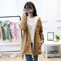 2018冬装韩版新款中长款羊羔毛加绒加厚学院风学生风衣外套女